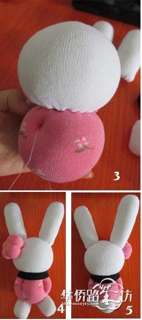 旧袜子改造粉红兔女郎diy制作过程图解