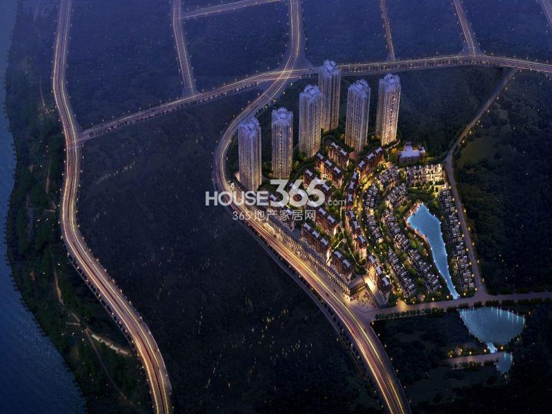 珠江城项目整体夜景鸟瞰图