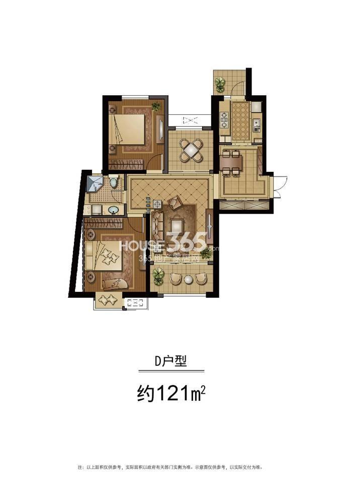 恒盛金陵湾5号楼标准层D户型 121平方米