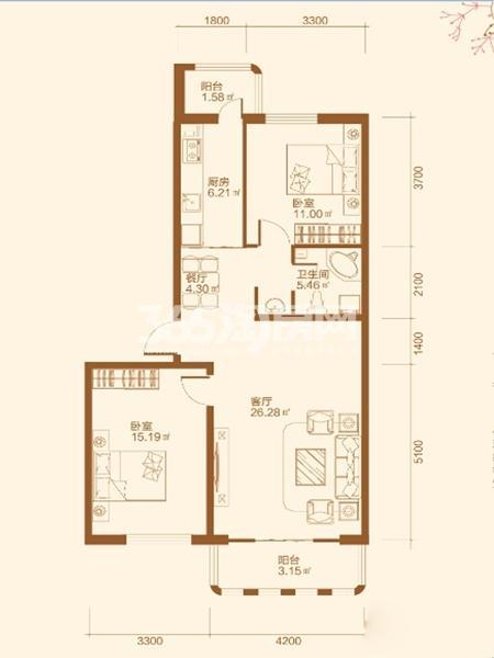 L户型2室2厅1卫