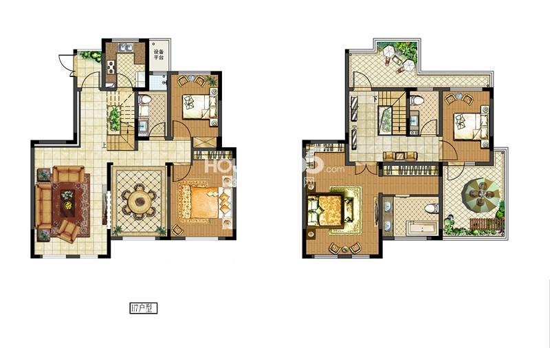 中电颐和府邸二期洋房标准层H7户型 四房两厅三卫
