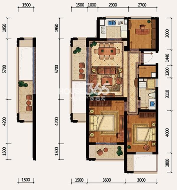 绿城春江明月户型图 b户型 三室二厅一卫 建筑面积约100平方米