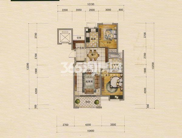 宜华城香榭丽舍小高层95平米花园两房户型图