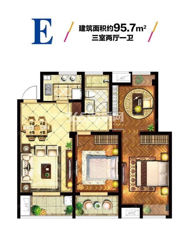 E户型3室2厅1卫1厨 95.70㎡