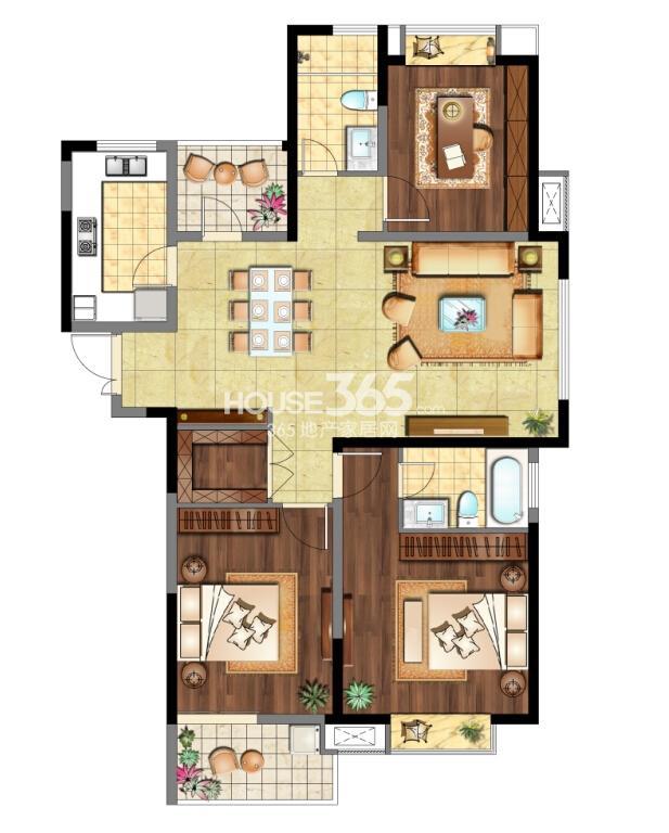 6#标准层01室 B+'户型 2室2厅2卫 约135㎡