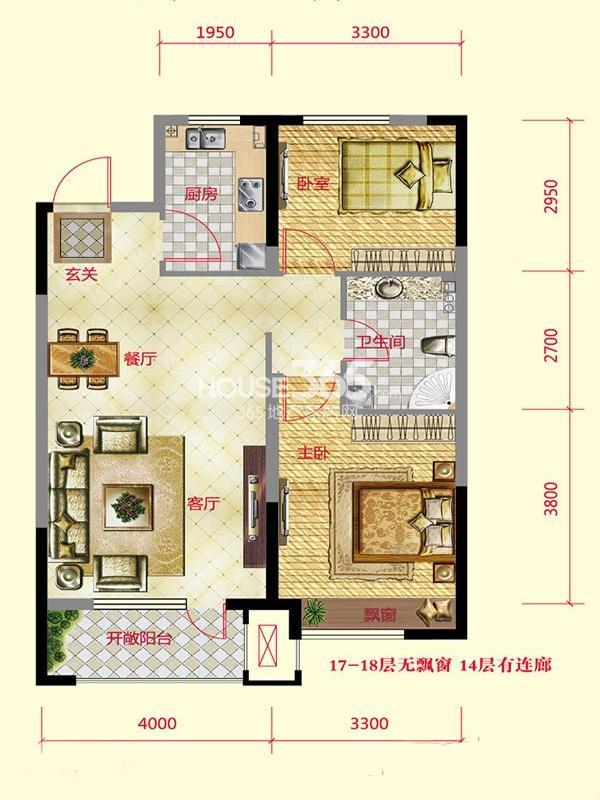 保利紫荆公馆 2室2厅1卫 90平