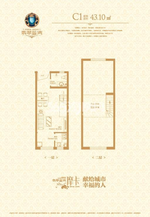 C1户型:1室1厅1卫 约43.10平米
