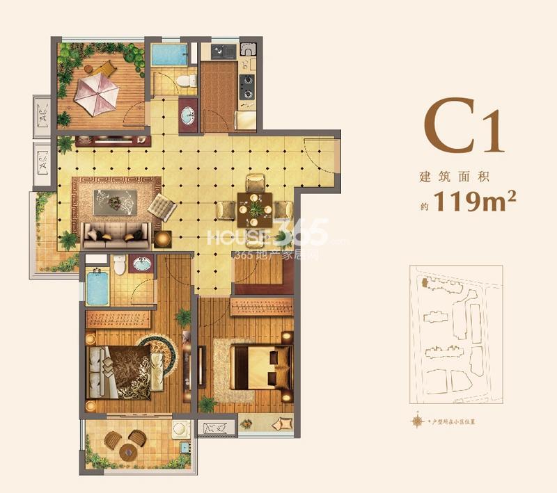 红星国际生活广场C1户型,119平米