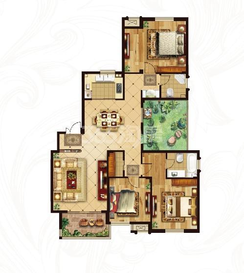 冠城大通蓝湾二期洋房H4户型 166平米3+1百变空间2厅2卫