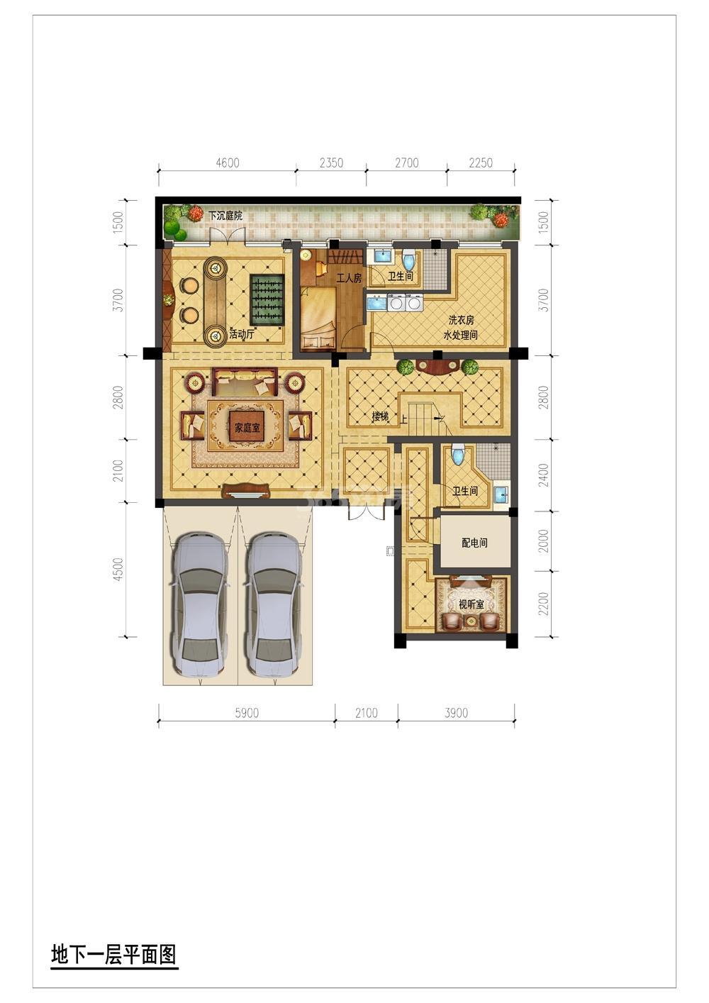翡翠城月光院子23号楼250S地下一层平面图