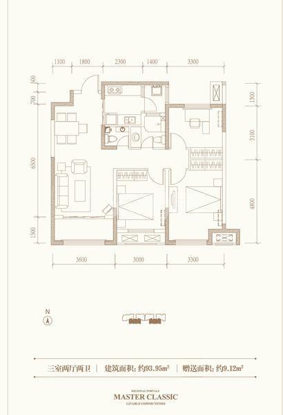 融创天朗珑府三室两厅两卫93.35平米