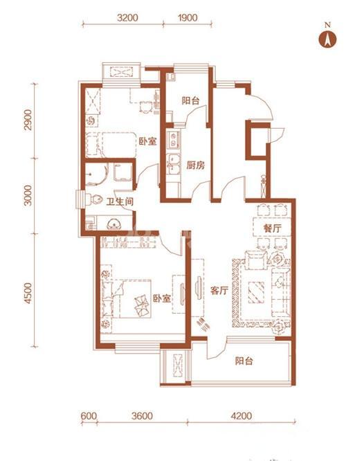 36-42号楼标准层A户型