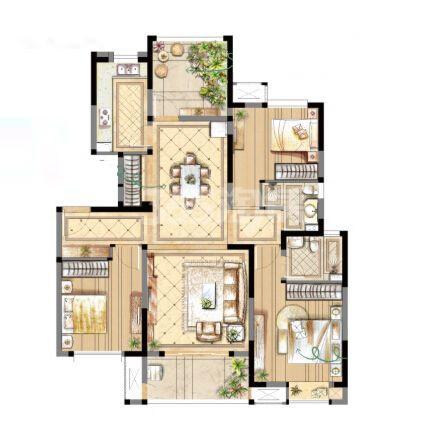 金辉浅湾雅苑B2-1户型小高层3房+空中花园120平