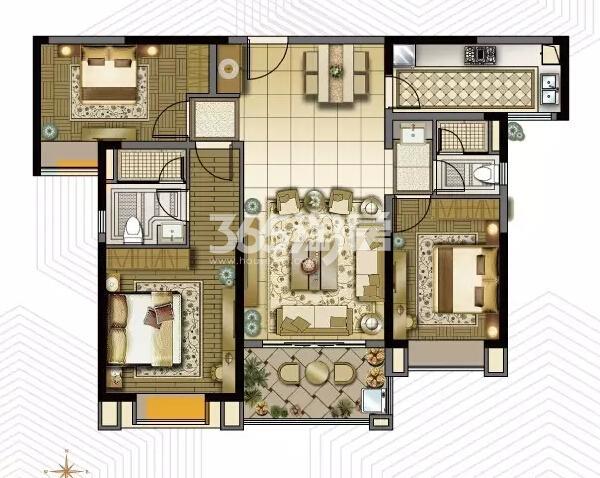 雅居乐中心广场5#楼129平户型图