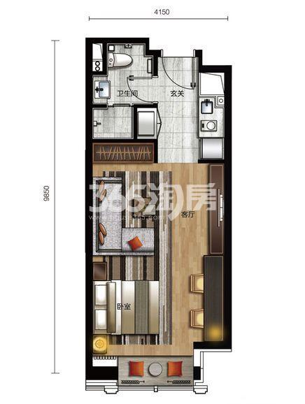 三期公寓标准层A1 1室1厅1卫 56.63