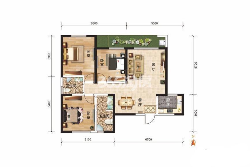天时新苑3室2厅1厨2卫102.07㎡