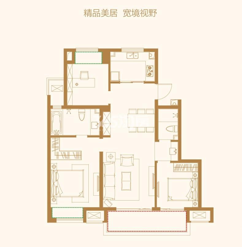 万科碧桂园户型图107㎡精装平层 3房2厅2卫