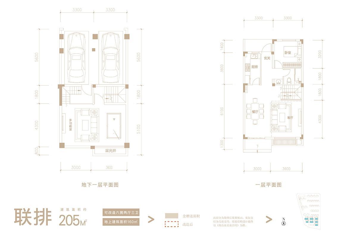 联排205㎡户型图(地下一层+ 一层)