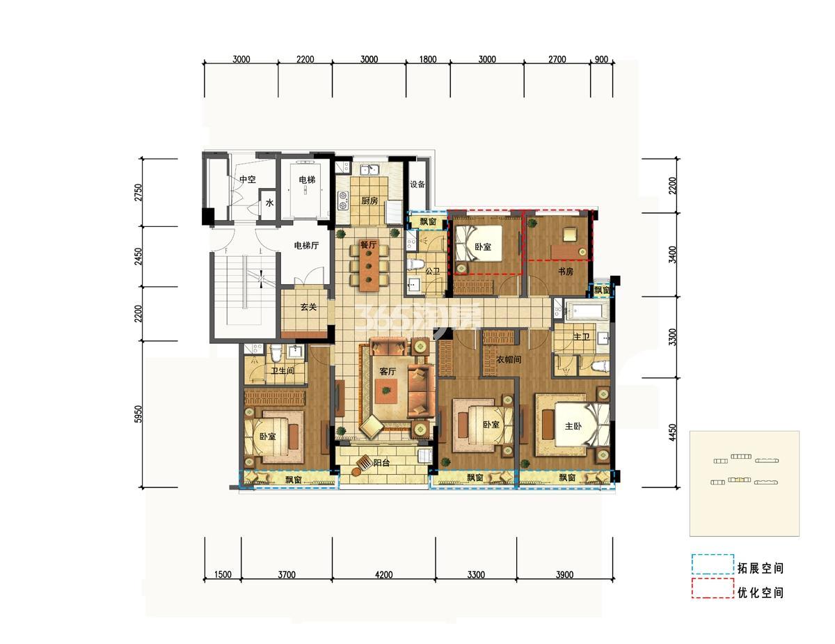 梧桐郡5号楼E1户型168方户型图