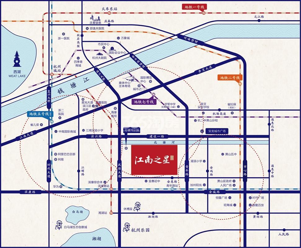 滨江江南之星交通图