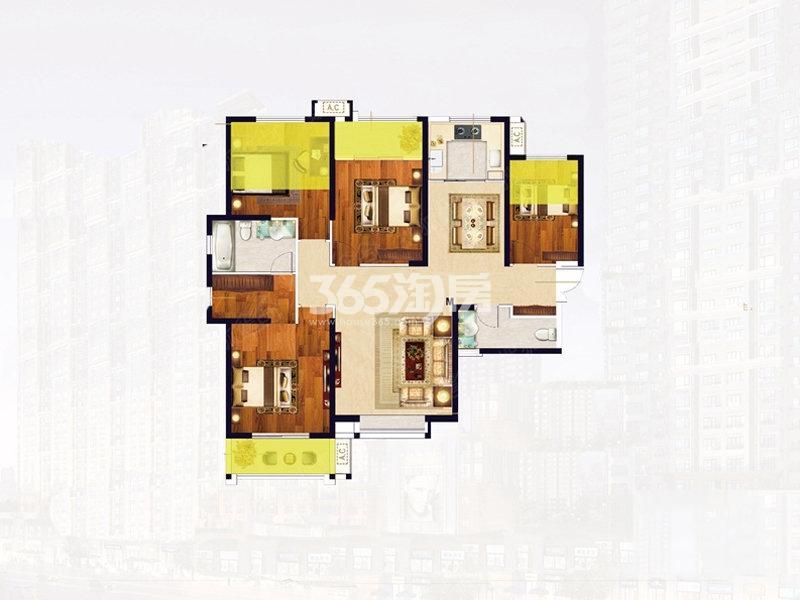 华洲城E户型四室两厅两卫147平