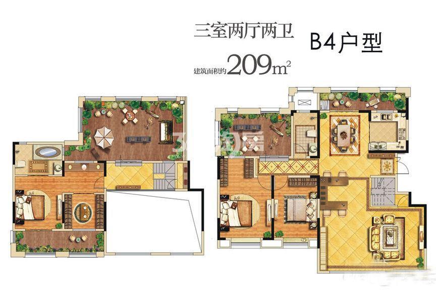 龙湖曲江畔B4户型三室两厅一厨两卫209㎡