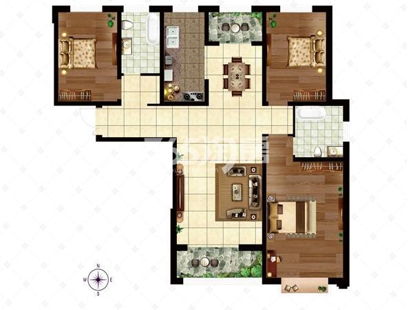 10# B3户型 面积约156.01㎡ 户型三室两厅两卫