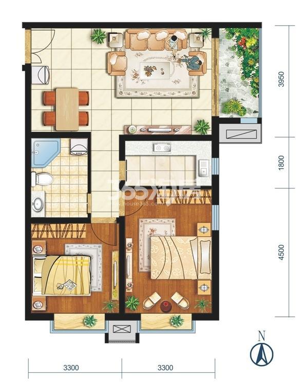H户型 两室两厅一卫 建筑面积约89.59㎡