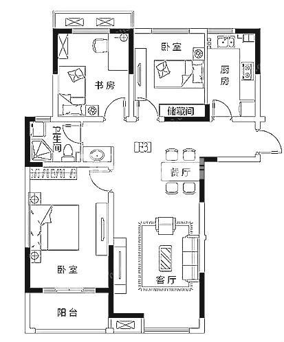 紫晶未来城125㎡户型图