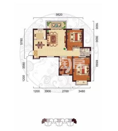 阳光台365 A户型三室两厅一卫108.1㎡