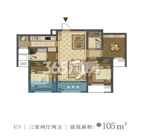 中国铁建西派国际C1户型三室两厅两卫105㎡