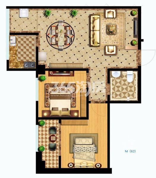御笔城市广场两室两厅一卫82平米