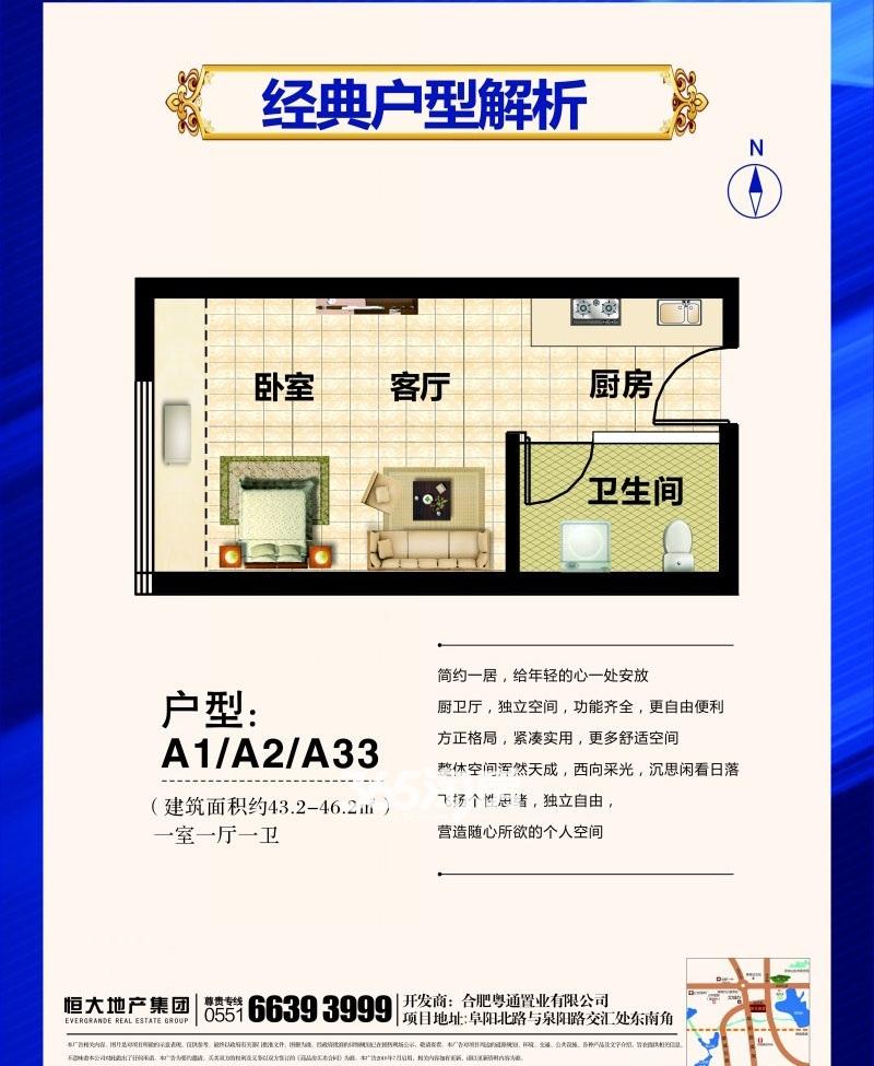 恒大帝景A1/A2/A33户型图(43.2-46.2㎡)