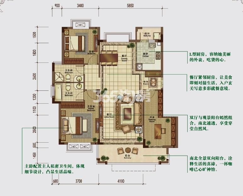 华强城赛纳丽城滨江DC-1户型图