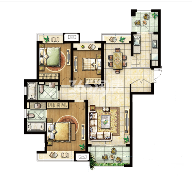 三期73#标准层C户型 3室2厅2卫1厨