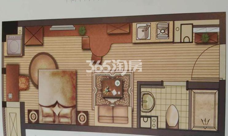 二期E幢公寓标准层 1室1厅1卫1厨