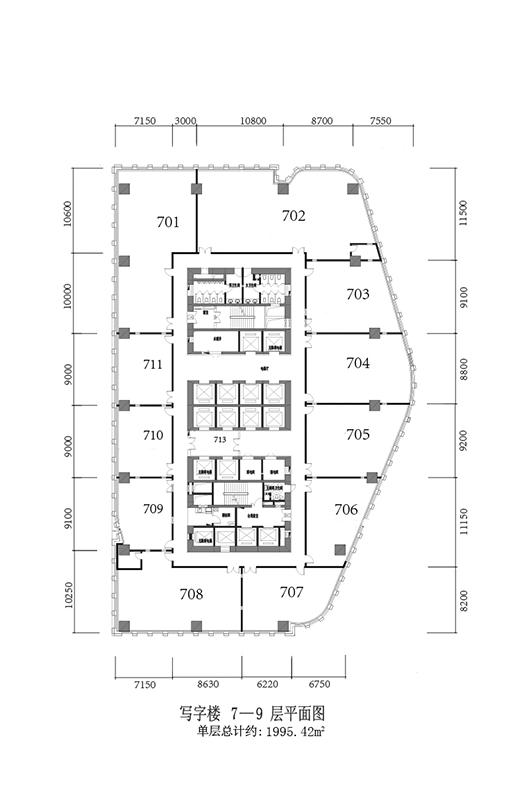 写字楼7-9层 1995.42平米
