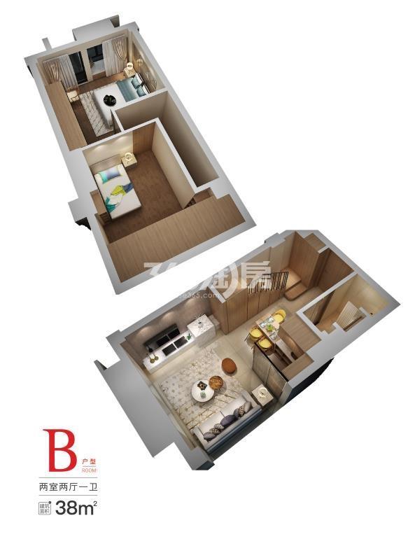 弘阳燕澜七缙38㎡两室一厅一卫户型图