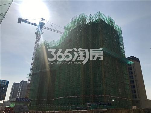 百合燕山公馆项目工程进度实拍图,已做好安全网防护措施