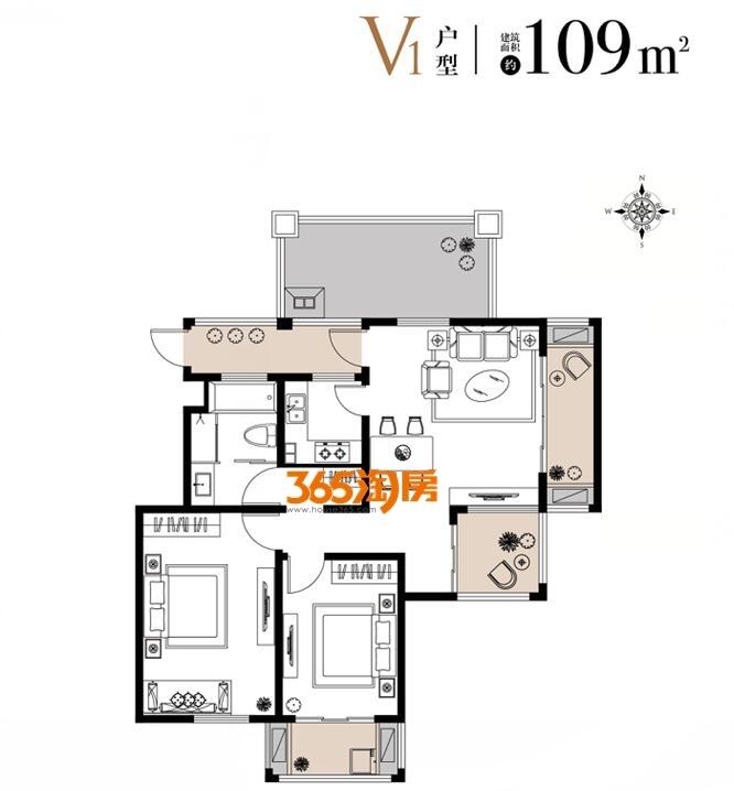 栖霞东方天郡三期洋房V1户型109平户型图