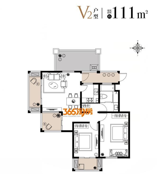 栖霞东方天郡三期洋房V2户型111平户型图