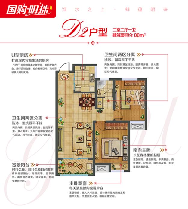 蚌埠国购广场-国购明珠 D2 二室二厅一卫88㎡