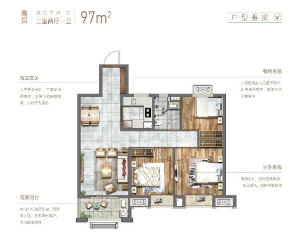 中南樾府97㎡户型图